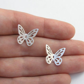 Butterfly Earrings - Sterling Silver Post Earrings - Lacy Butterfly Studs