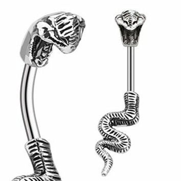 """Body Accentz® Belly Button Ring 316L Surgical Steel Poisonous Cobra Navel Ring Split Snake 14 Gauge 3/8"""""""