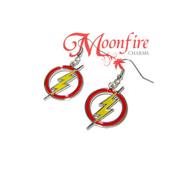 Lightning Bolt Circle Earrings