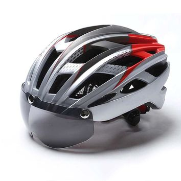 2018 New Ultralight Cycling Helmet Bike Lens Mountain Road Bicycle Goggles MTB Helmets Safety Cap For Men Women