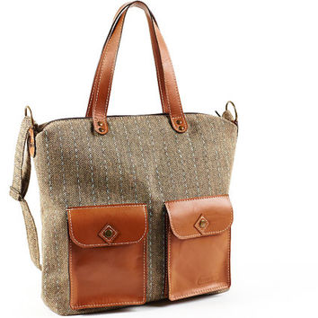Tweed shoulder bag. Brown leather pockets, handles and bottom.