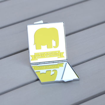 Animal lover gift idea | Lucky elephant compact mirror | Get lucky