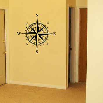 Wall Decal Wall Stickers Vinyl Decal Quote Silhouette - Compass Rose Nautical North Arrow
