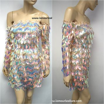 Sexy Luxury Off Shoulder Iridescent Sequin Tassel Fringe Summer Beach Party Mini Dress Romper