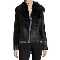 nicole by Nicole Miller® Faux Pleather Biker Jacket with Faux Fur Trim - JCPenney