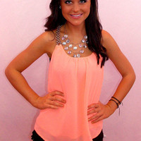 Summer Lovin' Peach Top - Haute Pink Boutique