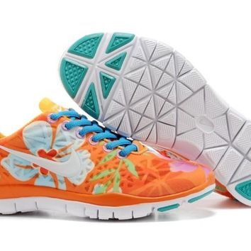 Women's Nike Free TR FIT 3 Print Limited Training Shoes Orange/Flower Blue