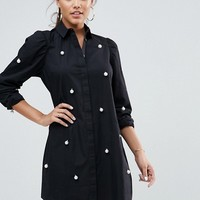 ASOS Cotton Mini Shirt Dress with Pearl Detail at asos.com