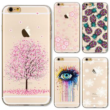 Soft TPU Case Cover For Apple iPhone 5 5S SE 6 6S 6Plus 7 7s Plus Cases Phone Shell Pretty Painting Cherry Blossoms Brilliant