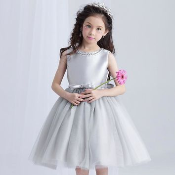 Brithday Girl Dress Weddings Mini Gray Beading Flower Girl Vestido 2017 Party Girl's Clothes 4 6 8 10 12 14 Years Old RKF174020