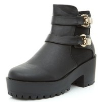 Black Chunky Double Clip Strap Boots