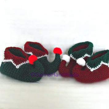 Christmas Elf Slippers, Elf Baby Booties, Christmas Toddler Booties ,Santa Booties,Christmas Gift For Baby,PomPom