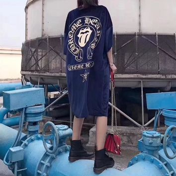 """Chrome Hearts"" Women Personality Big Tongue Letter Pattern Print Middle Sleeve Velvet T-shirt Loose  Dress"