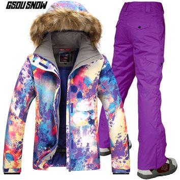 GSOU SNOW Brand Ski Suit Women Skiing Jackets Snowboarding Pants Winter Outdoor Mountain Skiing Suits Warm Sport Snow Clothes