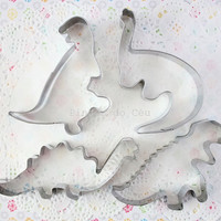 4 pcs - Stainless Steel Dinosaur - Biscuit - Cookie Cutter Set - Cake Design Tools - Ready to Ship