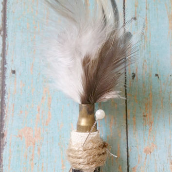 Bullet Boutonniere / Feather Boutonniere / Chevron Boutonniere / Country Chic Wedding / Rustic Boutonniere / Hunting Wedding