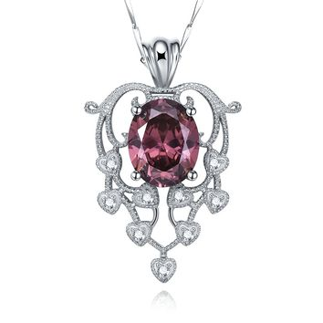 Merthus 4.64ct Spessartine Garnet Pendant Necklace 925 Sterling Silver