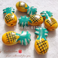 Free Shipping! 20pcs/lot Handcrafted Ceramic Porcelain lovely Pineapple Fruits Beads