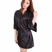 RB030 Large Size Satin Night Robe Lace Bathrobe Perfect Wedding Bride Bridesmaid Robes Dressing Gown For Women