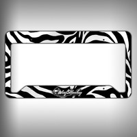 Zebra Print Custom Licence Plate Frame Holder Personalized Car Accessories