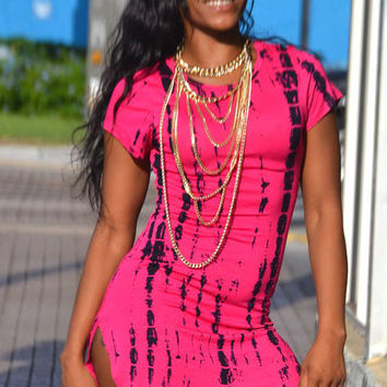 Pink Ink Print Cap Sleeve with Moderate Side Slit Mini Dress