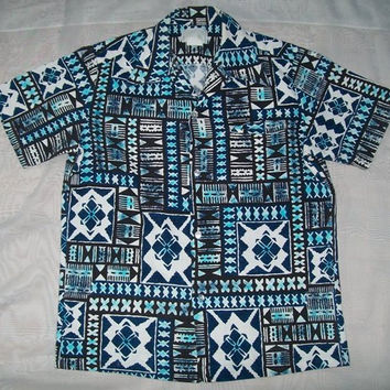 10-0857 Vintage 1960s Men's Blue Hawaiian Barkcloth Shirt /  Mad Men / Men's Tiki Shirt / Men's Resort Wear / Size M