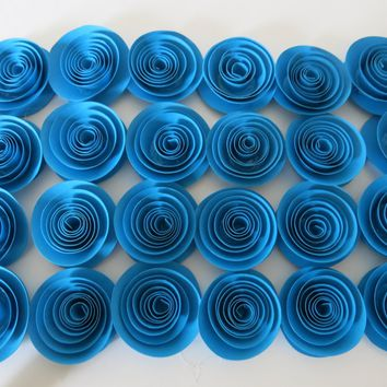 "24 Blue Rosettes, Bright 1.5"" Paper Flowers Projects, Decorations Large Lot Wedding Table Scatter, Baby Shower Decor, Bridal Party"