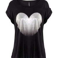 Black Silver Heart Print T-Shirt