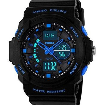 Bo Yi Boys Girls Kids Children Digital Sports Watches  Multifunction 50M Waterproof LED Light Electronic Sport Watch for Junior Children Teenagers Boys Girls with Alarm Stopwatch TimerBlue