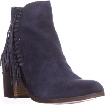 Kenneth Cole REACTION Rotini Side Fringe Ankle Boots, Navy, 8.5 US / 39.5 EU