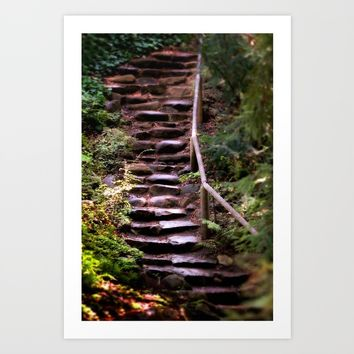 Old Wet Stone Steps Art Print by Henrik Lehnerer