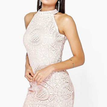 Aileen Crochet Lace Sleeveless Bodycon Dress | Boohoo
