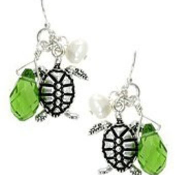 Womens Turtle, Turtoise, Silver Tone Dangle / Drop Earrings w/ Green & Imitation Pearl Accents. Accents. Length: 1.5 Inch