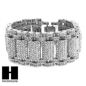 ICED OUT ALL RHODIUM PLATED MICRO PAVE SIMULATED DIAMOND 8.5 BRACELET KB023S
