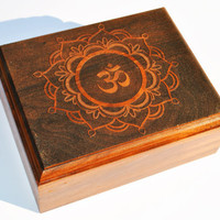 Engraved Wooden Box Lotus with Om / Aum Symbol , Laser Engraved