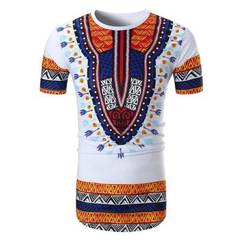Male Afircan Clothing Dashiki Vintage T shirt Traditional Print Tshirt Men Ethnic Clothes Dashiki T-shirt For Men Women 2XL