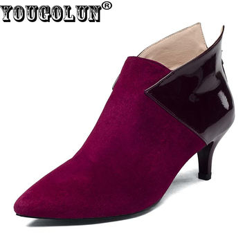 YOUGOLUN - Women Ankle Boots Cow Suede Spring Autumn Thin Heels 6cm Pointed toe Shoes #Y-003