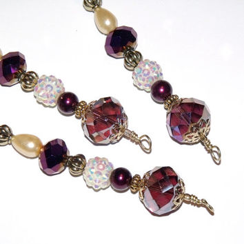 Purple, Ivory and Gold Icicle Ornaments - Beaded Christmas Decoration vintage inspired