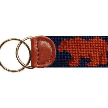 Bull and Bear Stock Market Needlepoint Key Fob in Blue by Smathers & Branson