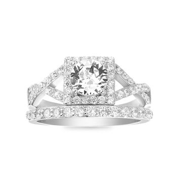 Engagement Ring and Wedding Band Set made with Swarovski Crystals
