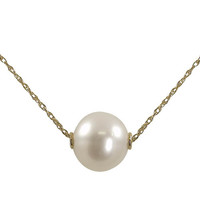 """18"""" 14 Karat Yellow Gold 9-10mm White Freshwater Pearl Solitaire Necklace"""