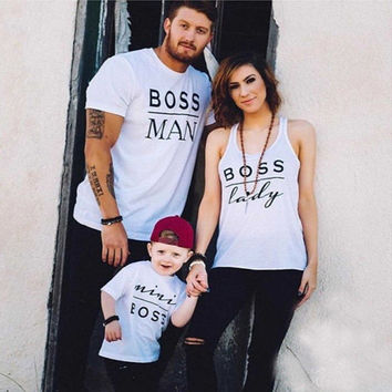 Newest Valentines Gift BOSS MAN BOSS LADY & MINI BOSS Matching Family T Shirts Couple T-Shirt Mother Daughter Son