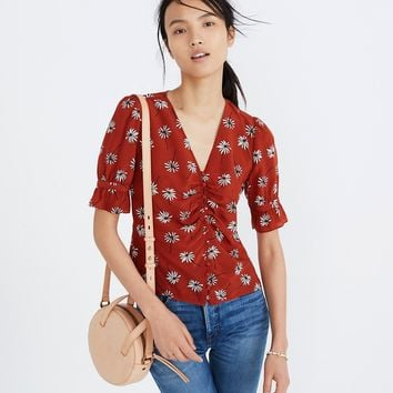 Silk Wrap Top in Fresh Daisies
