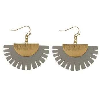 Leather Fan Earrings - Gray