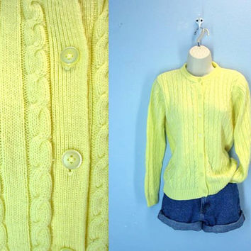 Pastel Lemon Sweater / 60s Soft Yellow Cardigan / Cable Knit Cardi