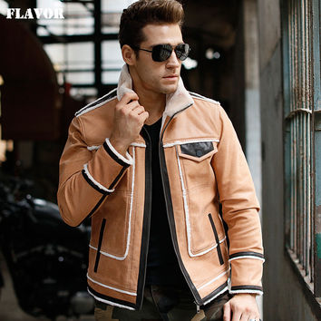 Men's Genuine Leather jacket real leather jacket with faux fur shearing motorcycle winter warm coat men