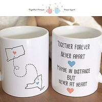 Together Forever Never Apart - Customizable Matching Ceramic Coffee Mugs (MC029)