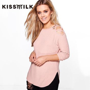 kiss milk plus size autumn western style fashion loose solid color hollow out long sleeve 3XL-7XL 2 color woman's Casual T-shirt