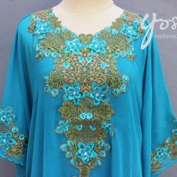 Light Blue Floral Pattern Caftan Dress Chiffon Wedding Summer Party Kaftan Sequin Embroidery Dress