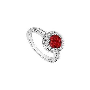 DCCKU7Q Ruby and Diamond Halo Engagement Ring : 14K White Gold - 1.30 CT TGW